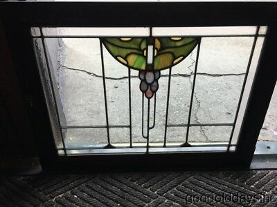 Antique Prairie Style Grape Motif Stained Glass Oak Cabinet Door / Window