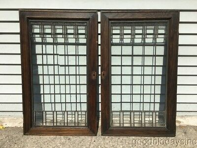 Antique Prairie Style Leaded Glass Oak Cabinet Doors Windows