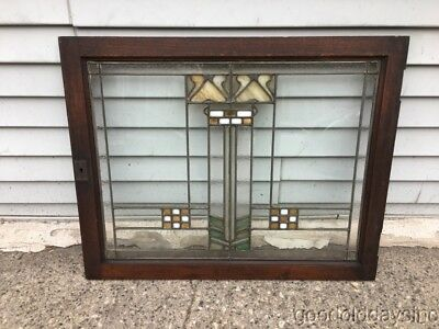Wonderful Prairie Style Stained Leaded Glass Window / Cabinet Door