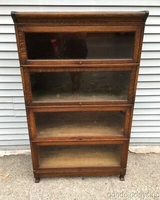 Antique Barrister / Lawyers Bookcase Solid Oak 4 Stack Bookcase Circa 1910