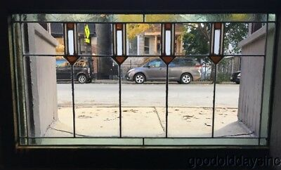 """Antique Stained Leaded Glass Transom Window 44"""" by 26"""" Circa 1910 Arts & Crafts"""