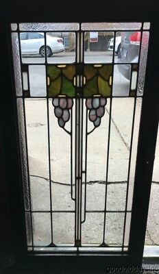 Antique Prairie Style Grape Motif Stained Leaded Glass Oak Cabinet Door / Window