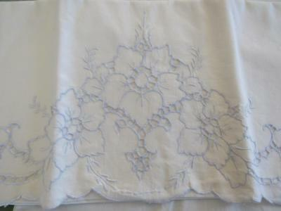 PAIR Antique Vintage Blue & White Pillowcases Embroidery and Cutwork