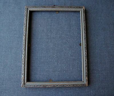 Antique Art Deco Silvered & Black Wooden Picture Frame