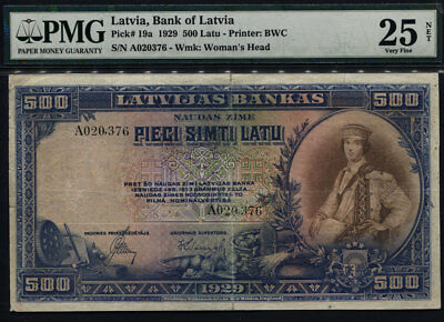 "TT PK 19a 1929 LATVIA 500 LATU ""BEAUTIFUL PIECE OF ART WORK"" PMG 25 VERY FINE"