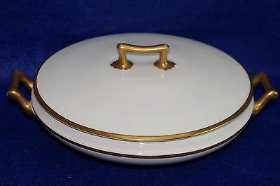 Grindley The Marengo Round Covered Vegetable Bowl w/Lid White with Gold Trim