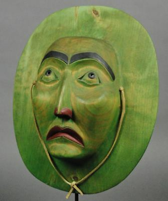 Large GREEN MOON MASK Beautiful Realistic Detail Native Northwest Coast 1987