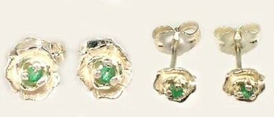 2 Antique 19thC Emerald Ancient Egypt Fertility Rebirth Eye Gem Sterling Studs