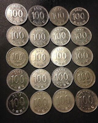 Old South Korea Coin Lot - 100 WON - 20 Great Coins - Lot #J10