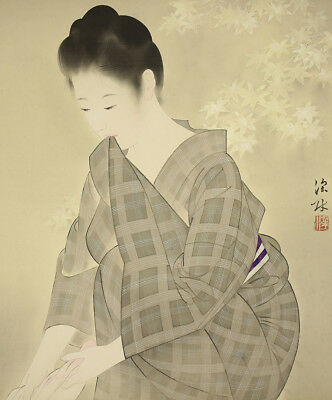 """JAPANESE HANGING SCROLL : ITO SHINSUI """"Maple and Beauty Squeezing Cloth""""  @u630"""