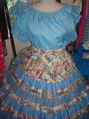 Square Dance Baby Blouse-Floral & Patches Blue, Tan, Red, Green Skirt-X/ L