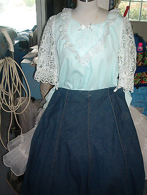 Square Dance Light Blue Blouse-Blue, Denim Skirt- Sz. Small & Sz 12