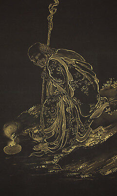 """JAPANESE HANGING SCROLL """"Arhat with Kindei""""  @u650"""