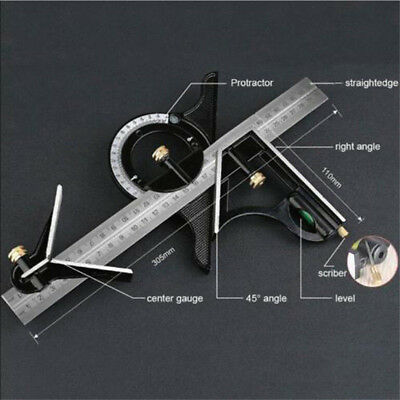 3pcs Multi Combination Ruler Tri Square Angle Finder Protractor Spirit Level Set