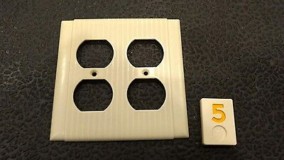 1 Ivory Vtg Bakelite Ribbed Bryant Deco Double Gang Outlet Plate Cover Y5