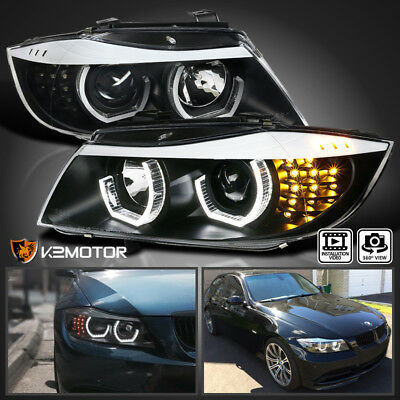 [Facelift 3D Halo] 2009-2012 BMW E90 3-Series 4Dr LED Projector Headlights Black