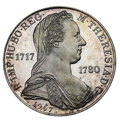 1967 Austria Maria Theresa 25 Schilling KM# 2901 Silver Proof Coin 27.8k Minted