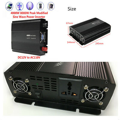 Car Truck 8000W Peak Modified Sine Wave Power Inverter DC12V to AC110V Converter