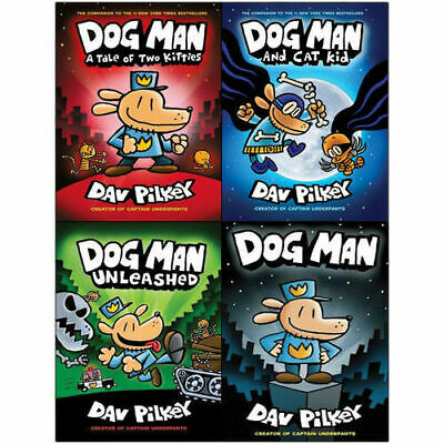 Adventures of Dog Man Dav Pilkey Collection 4 Books Set A Tale of Two Kitties