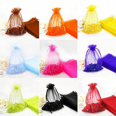 HOT 100Pcs Organza Wedding Party Favor Decoration Gift Candy Sheer Bags Pouches