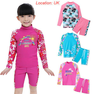 UK Warehouse 2PCS Girls UV 50+ Sunsuit Rashguard Surfing Swimming Costume 3-12Y