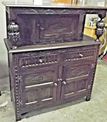 Vintage Art Nouveau Style Solid Oak Dark Wood Sideboard / Serving Buffet - G31