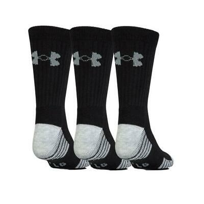 Under Armour 2018 Heatgear Tech Crew Gym Socks 3 Pack (Black Large Size 9-12.5)
