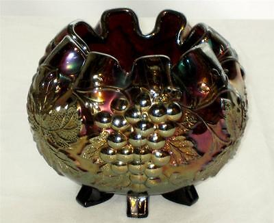 Vintage Dugan Carnival Glass Rose Bowl Amethyst Grape Delight 6 Feet Ball Vase