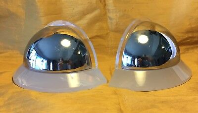 Vtg Pair Modern Art Deco CHROME BALL & LUCITE / ACRYLIC Bookends
