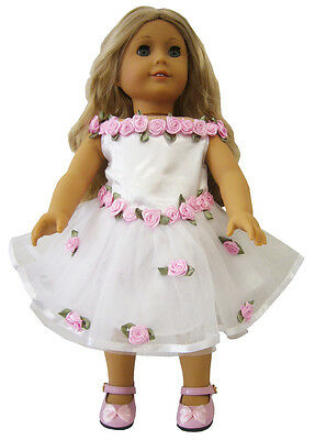 "White Dress with Pink Roses made for 18"" American Girl Doll Clothes"