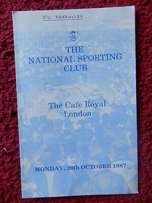 National Sporting Club Boxing Programme 1987