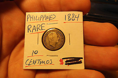 1884 Philippines - Spainish 10 Centimos Silver Coin  .. Low Mintage !!!