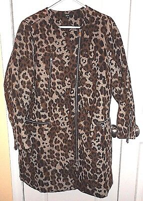 ba05f7a9677 NWOT Ellos Plus 20 Animal Print Brushed Asymmetrical Zip Coat Quilted Lining
