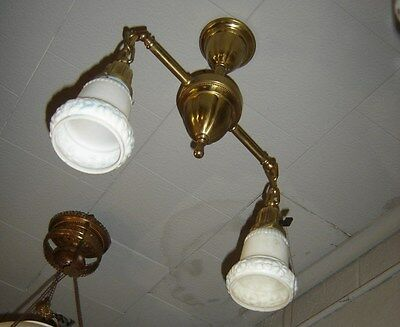 Antique 2-Light Embossed Brass Fixture w/ Milk Glass Shades w/ blue accents 8977