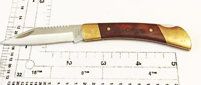 Wood Handled  Lock Back Knife Nu-Calgon Advertising Free Shipping