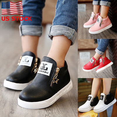 US Kids Boys Girls Soft Flat Ankle Boot Stars Zipper Casual Shoes With Cotton
