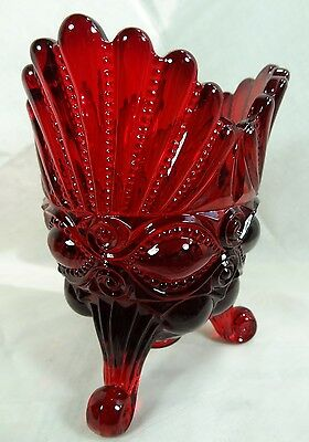 Eye Winker Spooner Ruby Red Glass Vase Mosser