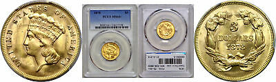 1878 $3 Gold Coin PCGS MS-64+