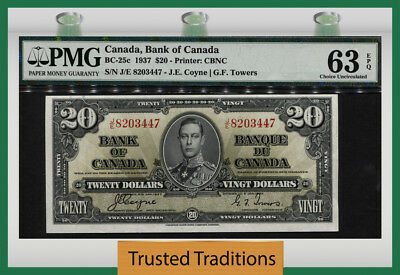 "TT BC-25c 1937 CANADA $20 ""WONDERFUL KING GEORGE VI"" PMG 63 EPQ CHOICE UNC!"
