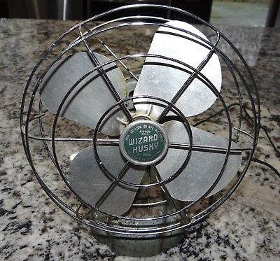 "Wizard Husky 8"" Fan 6J2400 1250-R Western Auto Supply Vtg Antique Works Good"