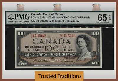 TT BC-43b 1954 CANADA $100 YOUNG QUEEN ELIZABETH II PMG 65 EPQ GEM UNCIRCULATED!