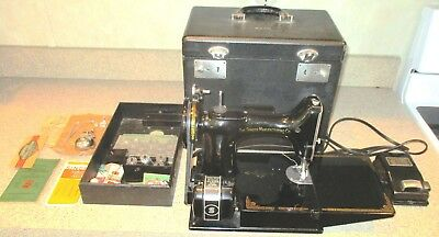 Singer Featherweight Sewing Machine 1946 Scroll Face Works Great! No Reserve