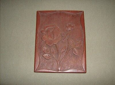 Beautiful vintage custom hand carved decorative roses wooden display wall plaque