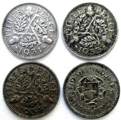 Great Britain Uk Coins, Threepence 1931 & 1933 & 1934 & 1938, Silver 0.500