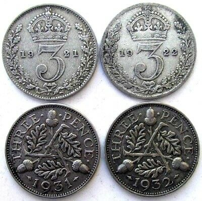 Great Britain Coins, Threepence 1921 & 1922 & 1931 & 1932, George V, Silver 0.50