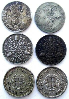 Great Britain Coins, Threepence 1917 & 1920 & 1931 & 1932 & 1938 & 1940, Silver