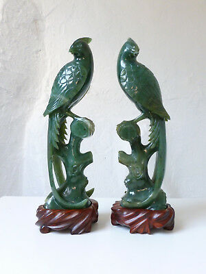 Antique Chinese Early 20thC Pair Carved Spinach Jade Parrots Birds Wood Stands