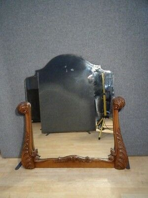Large Antique Oak French Over Mantle Mirror With A Carved Frame