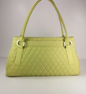 Vera Bradley Trapeze Microfiber Quilted Satchel In Key Lime