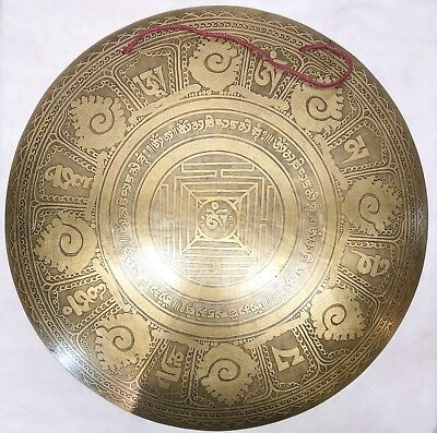 """F1058 HUGE ARTISTIC HAND CRAFTED HIMALAYAN TIBETAN TEMPLE GONG 22"""" Made in Nepal"""